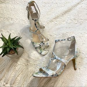 Vince Camuto pumps white blue green floral heels